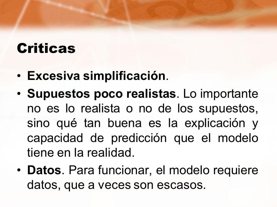 Criticas Excesiva simplificación. Supuestos poco realistas. Lo importante no es lo realista o no de los supuestos, sino qué tan buena es la explicació