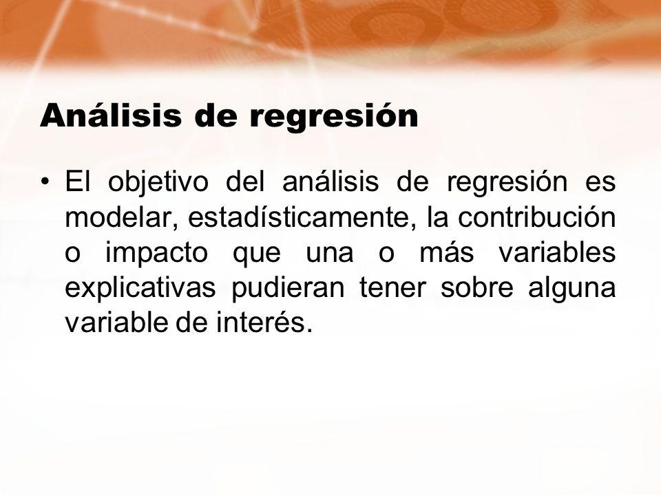 Análisis de regresión El objetivo del análisis de regresión es modelar, estadísticamente, la contribución o impacto que una o más variables explicativ