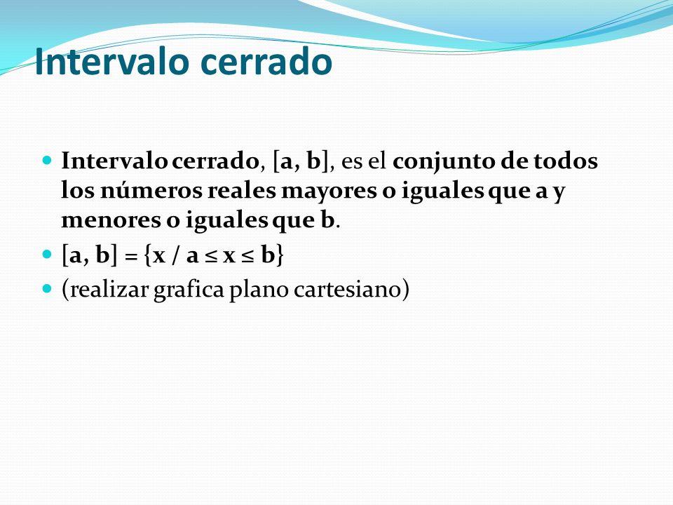 Intervalo cerrado Intervalo cerrado, [a, b], es el conjunto de todos los números reales mayores o iguales que a y menores o iguales que b. [a, b] = {x