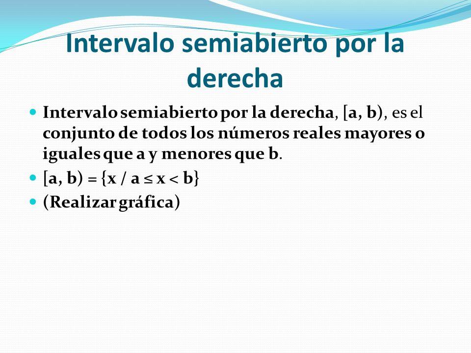Intervalo semiabierto por la derecha Intervalo semiabierto por la derecha, [a, b), es el conjunto de todos los números reales mayores o iguales que a