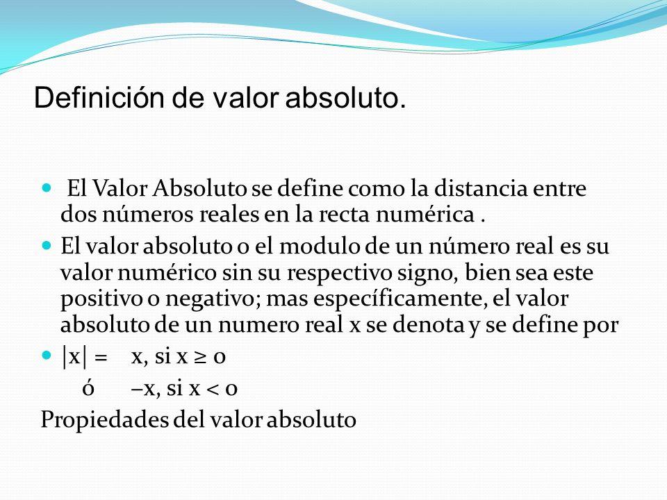Definición de valor absoluto. El Valor Absoluto se define como la distancia entre dos números reales en la recta numérica. El valor absoluto o el modu
