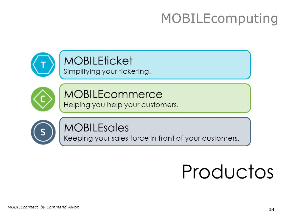 Productos MOBILEconnect by Command Alkon 24 MOBILEticket Simplifying your ticketing. MOBILEcommerce Helping you help your customers. MOBILEsales Keepi