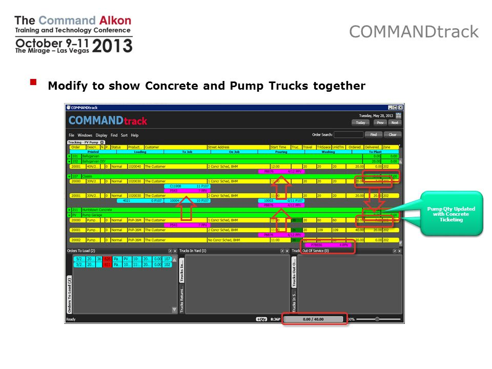 Modify to show Concrete and Pump Trucks together COMMANDtrack Excl.