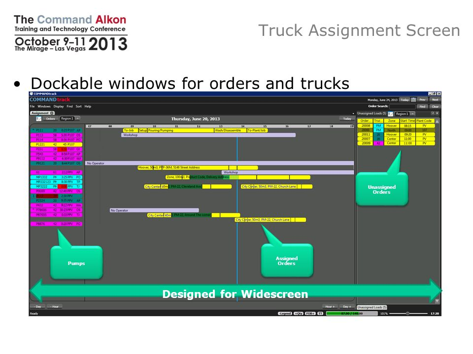 Trucks Assignment Window, Order Display Time Scale Current Time Of Day Truck Assignment Screen To – Job Time Setup Time Pumping/ Pouring Time Wash/ Disassemble Time To – Plant /Next Job Time Order Text: - Zone Description - Ordered Quantity - Ordered Product Code - Delivery Address Order Text: - Zone Description - Ordered Quantity - Ordered Product Code - Delivery Address Shares Truck List Configuration Configurable Tooltip, Additional Order Information Showing Pumped Concrete Information