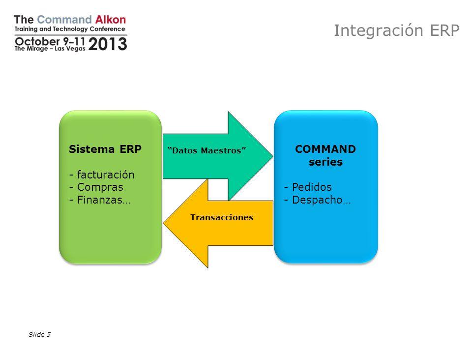 Slide 5 Datos Maestros Transacciones COMMAND series - Pedidos - Despacho… COMMAND series - Pedidos - Despacho… Sistema ERP - facturación - Compras - F