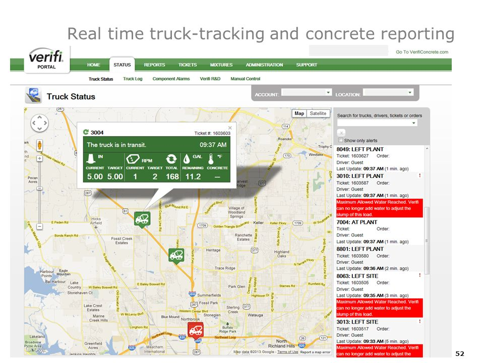 Real time truck-tracking and concrete reporting 52