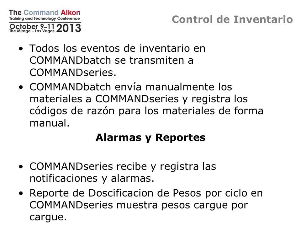 Control de Inventario Todos los eventos de inventario en COMMANDbatch se transmiten a COMMANDseries. COMMANDbatch envía manualmente los materiales a C