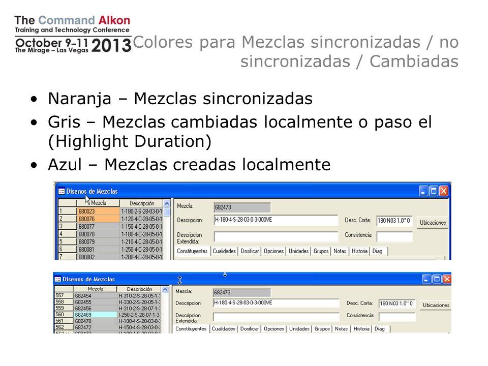 Colores para Mezclas sincronizadas / no sincronizadas / Cambiadas Naranja – Mezclas sincronizadas Gris – Mezclas cambiadas localmente o paso el (Highl
