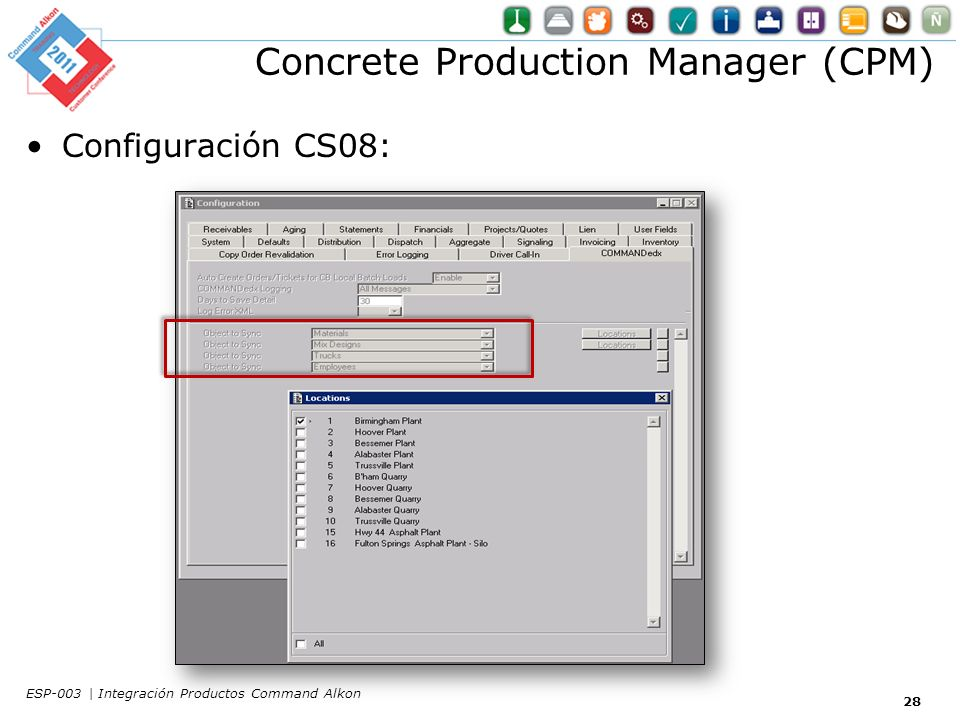Concrete Production Manager (CPM) Configuración CS08: 28 ESP-003 | Integración Productos Command Alkon