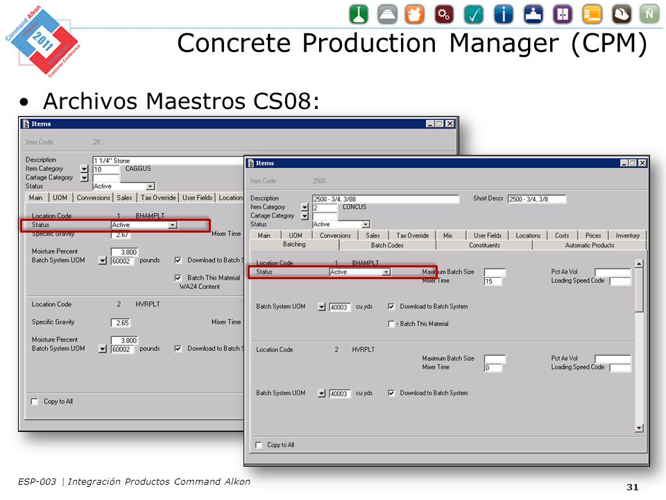 Concrete Production Manager (CPM) Archivos Maestros CS08: 31 ESP-003 | Integración Productos Command Alkon