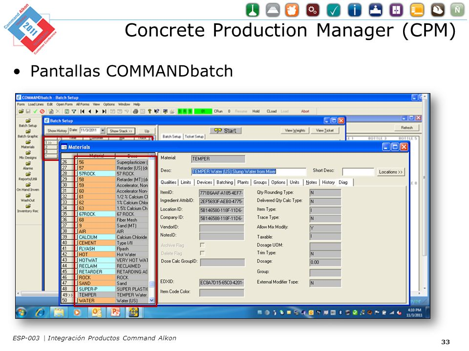 Concrete Production Manager (CPM) Pantallas COMMANDbatch 33 ESP-003 | Integración Productos Command Alkon