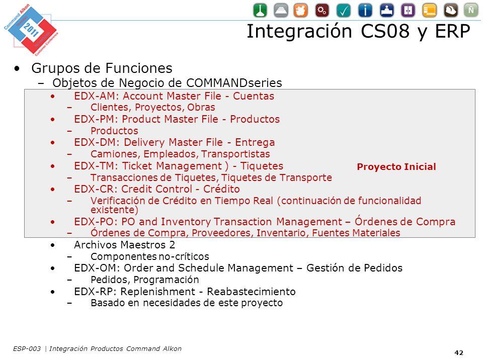 Proyecto Inicial Integración CS08 y ERP Grupos de Funciones –Objetos de Negocio de COMMANDseries EDX-AM: Account Master File - Cuentas –Clientes, Proyectos, Obras EDX-PM: Product Master File - Productos –Productos EDX-DM: Delivery Master File - Entrega –Camiones, Empleados, Transportistas EDX-TM: Ticket Management ) - Tiquetes –Transacciones de Tiquetes, Tiquetes de Transporte EDX-CR: Credit Control - Crédito –Verificación de Crédito en Tiempo Real (continuación de funcionalidad existente) EDX-PO: PO and Inventory Transaction Management – Órdenes de Compra –Órdenes de Compra, Proveedores, Inventario, Fuentes Materiales Archivos Maestros 2 –Componentes no-críticos EDX-OM: Order and Schedule Management – Gestión de Pedidos –Pedidos, Programación EDX-RP: Replenishment - Reabastecimiento –Basado en necesidades de este proyecto 42 ESP-003 | Integración Productos Command Alkon