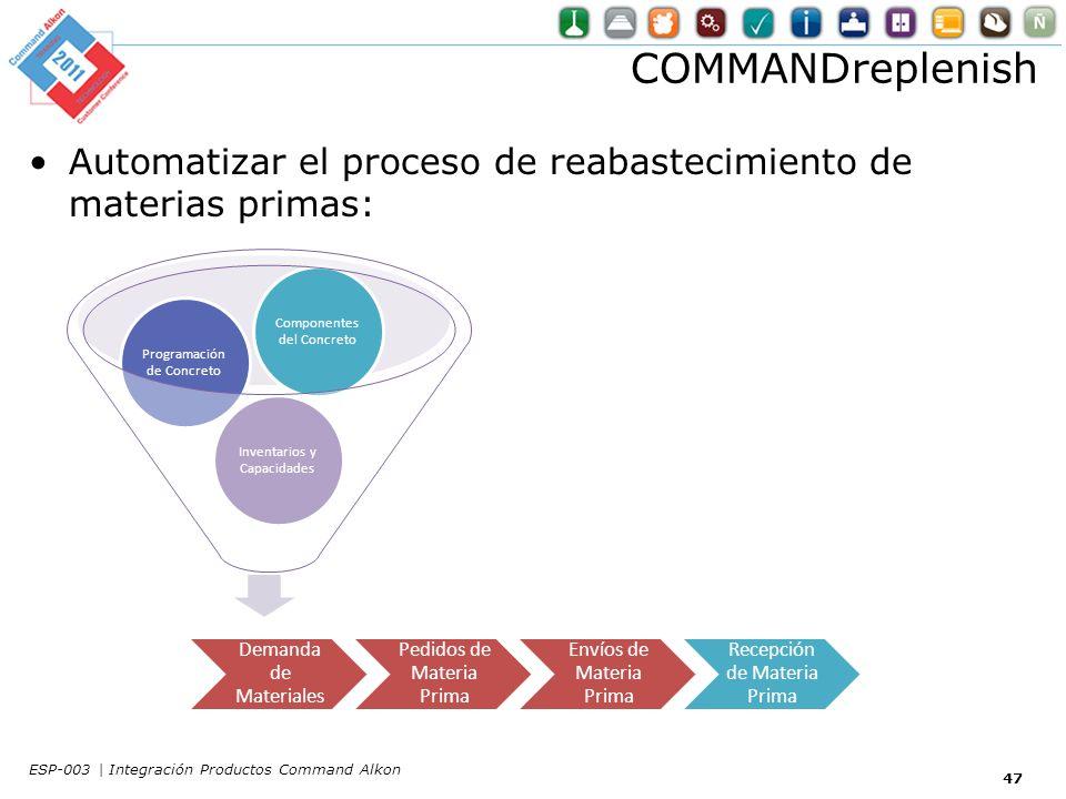 COMMANDreplenish Automatizar el proceso de reabastecimiento de materias primas: 47 Inventarios y Capacidades Programación de Concreto Componentes del Concreto Demanda de Materiales Pedidos de Materia Prima Envíos de Materia Prima Recepción de Materia Prima ESP-003 | Integración Productos Command Alkon