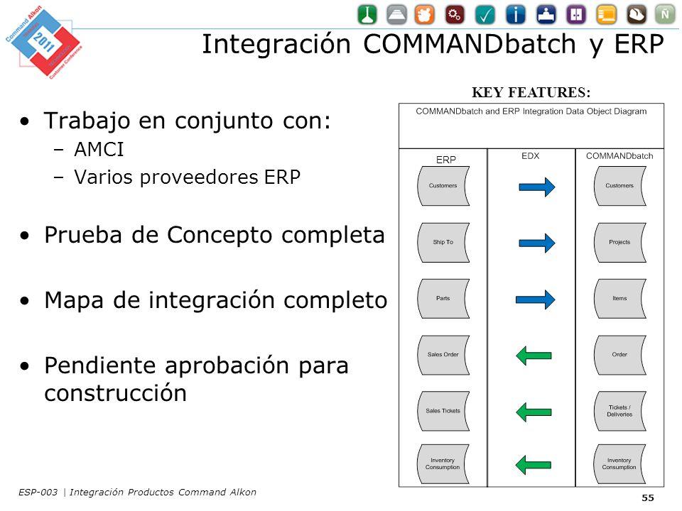 Integración COMMANDbatch y ERP Trabajo en conjunto con: –AMCI –Varios proveedores ERP Prueba de Concepto completa Mapa de integración completo Pendiente aprobación para construcción KEY FEATURES: ERP 55 ESP-003 | Integración Productos Command Alkon