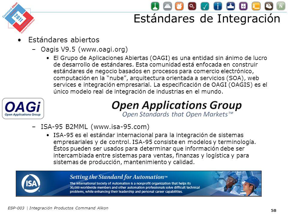 Estándares de Integración Estándares abiertos –Oagis V9.5 (www.oagi.org) El Grupo de Aplicaciones Abiertas (OAGI) es una entidad sin ánimo de lucro de desarrollo de estándares.