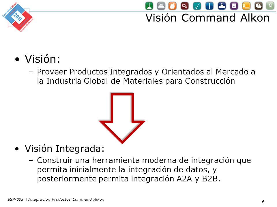 Visión Command Alkon Visión: –Proveer Productos Integrados y Orientados al Mercado a la Industria Global de Materiales para Construcción Visión Integrada: –Construir una herramienta moderna de integración que permita inicialmente la integración de datos, y posteriormente permita integración A2A y B2B.