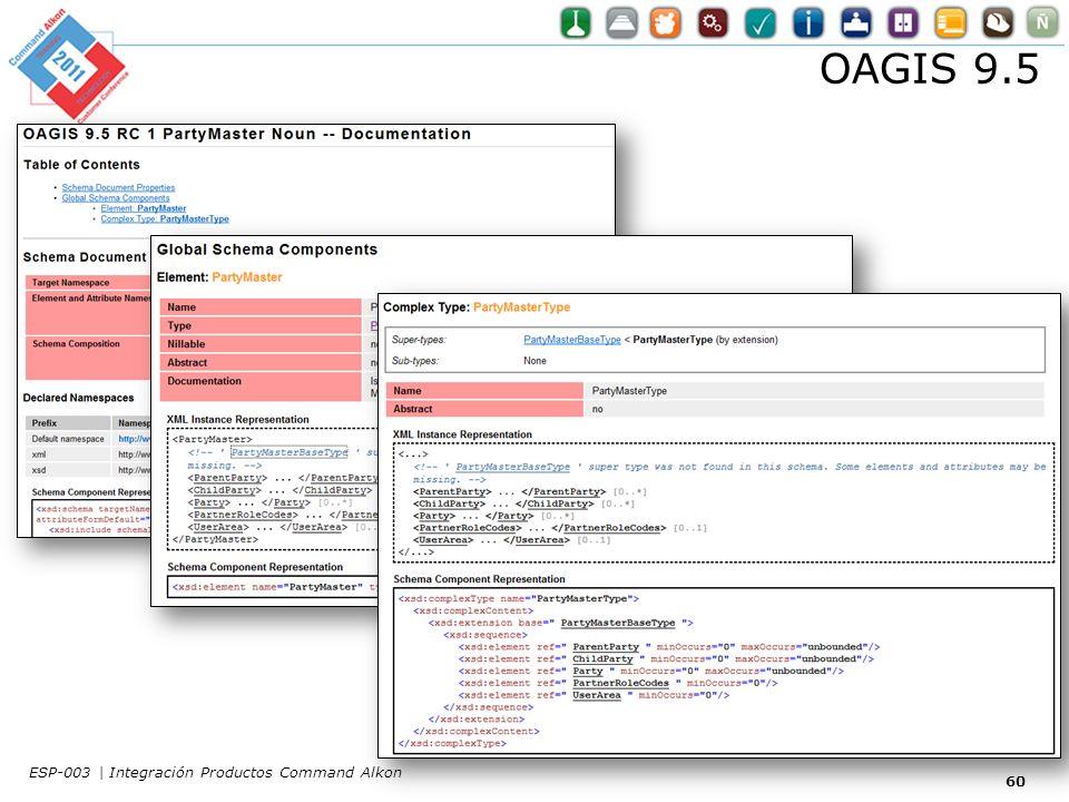 OAGIS 9.5 60 ESP-003 | Integración Productos Command Alkon