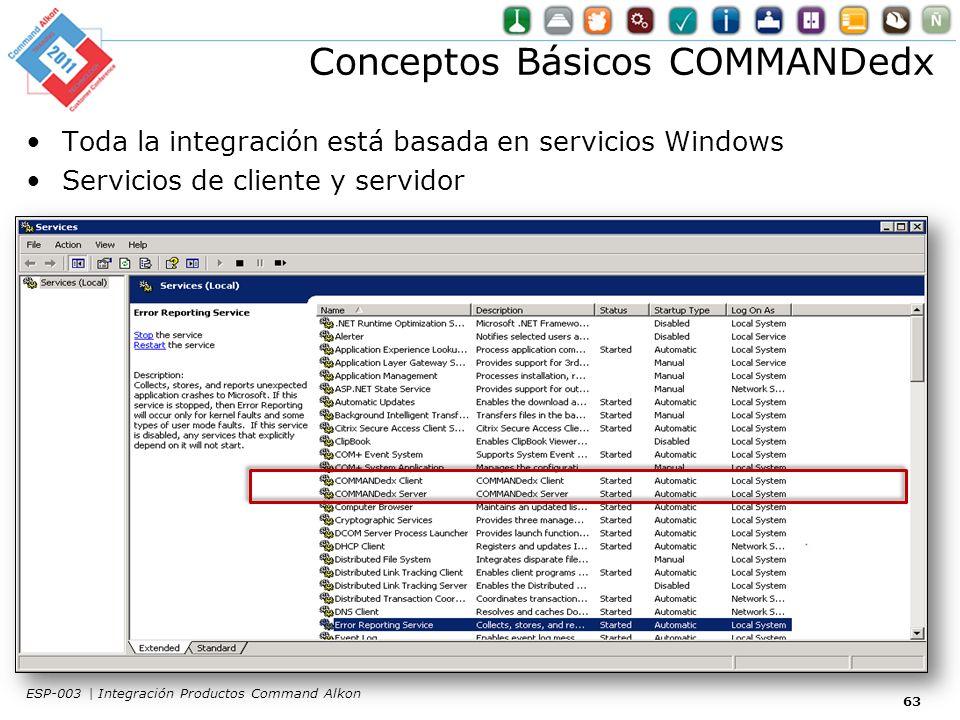 Conceptos Básicos COMMANDedx Toda la integración está basada en servicios Windows Servicios de cliente y servidor 63 ESP-003 | Integración Productos Command Alkon