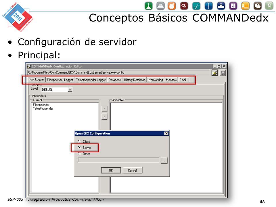 Conceptos Básicos COMMANDedx Configuración de servidor Principal: 68 ESP-003 | Integración Productos Command Alkon