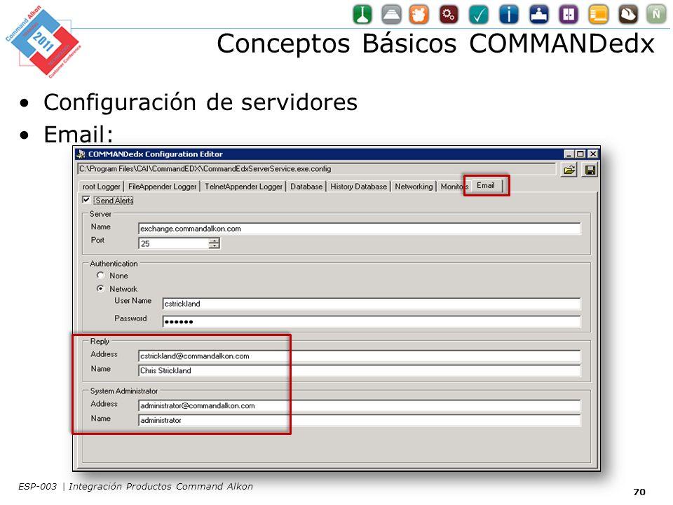 Conceptos Básicos COMMANDedx Configuración de servidores Email: 70 ESP-003 | Integración Productos Command Alkon