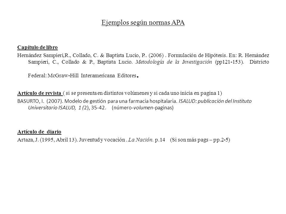 Ejemplos según normas APA Capítulo de libro Hernández Sampieri,R., Collado, C. & Baptista Lucio, P.. (2006). Formulación de Hipótesis. En: R. Hernánde