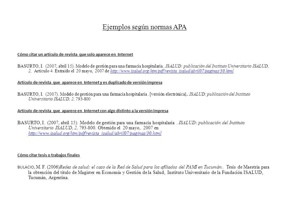 Ejemplos según normas APA Cómo citar un artículo de revista que solo aparece en Internet BASURTO, I. (2007, abril 15). Modelo de gestión para una farm