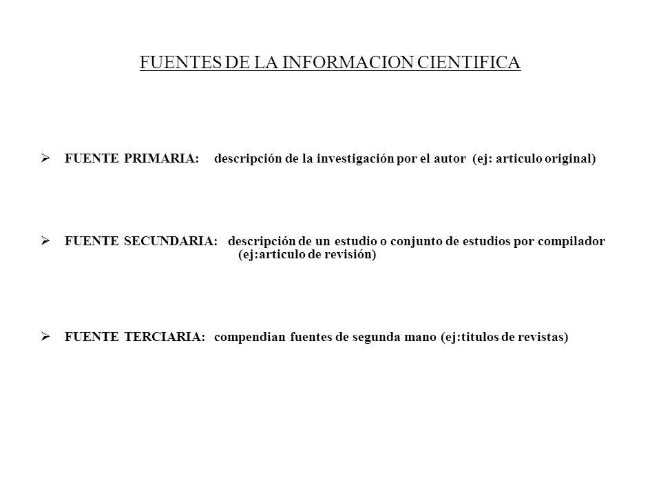 FUENTES DE LA INFORMACION CIENTIFICA FUENTE PRIMARIA: descripción de la investigación por el autor (ej: articulo original) FUENTE SECUNDARIA: descripc