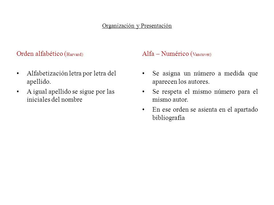 Organización y Presentación Orden alfabético ( Harvard) Alfabetización letra por letra del apellido. A igual apellido se sigue por las iniciales del n
