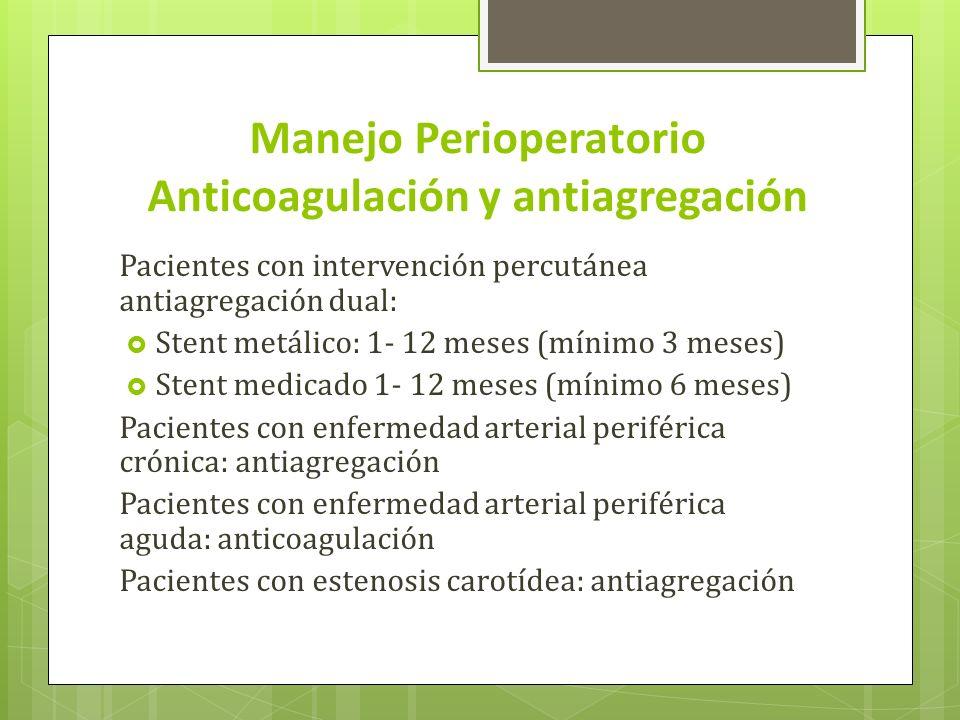 Manejo Perioperatorio Anticoagulación y antiagregación Pacientes con intervención percutánea antiagregación dual: Stent metálico: 1- 12 meses (mínimo