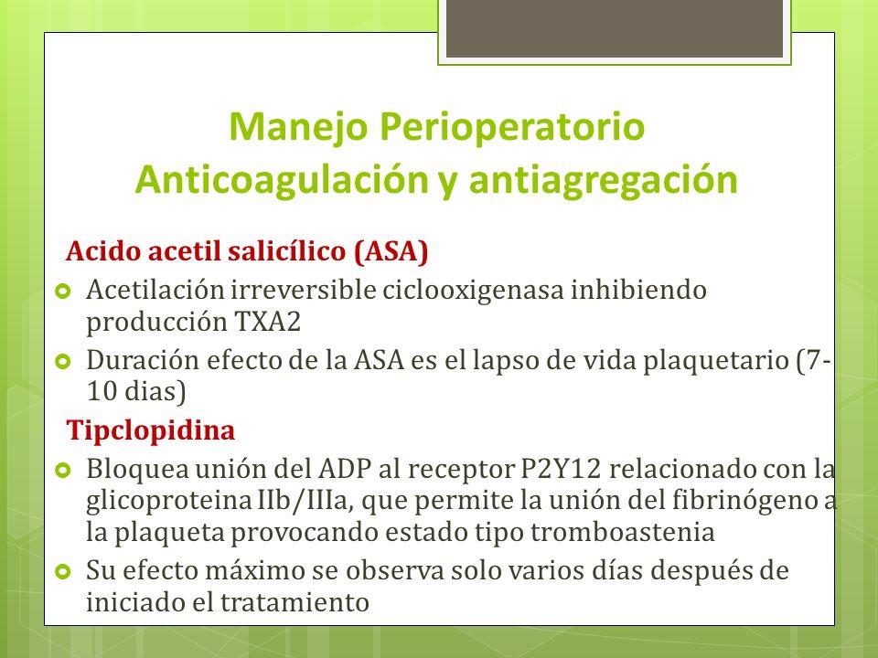 Manejo Perioperatorio Anticoagulación y antiagregación Acido acetil salicílico (ASA) Acetilación irreversible ciclooxigenasa inhibiendo producción TXA2 Duración efecto de la ASA es el lapso de vida plaquetario (7- 10 dias) Tipclopidina Bloquea unión del ADP al receptor P2Y12 relacionado con la glicoproteina IIb/IIIa, que permite la unión del fibrinógeno a la plaqueta provocando estado tipo tromboastenia Su efecto máximo se observa solo varios días después de iniciado el tratamiento