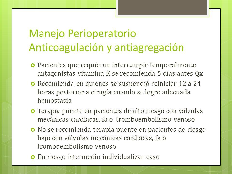 Manejo Perioperatorio Anticoagulación y antiagregación Pacientes que requieran interrumpir temporalmente antagonistas vitamina K se recomienda 5 días