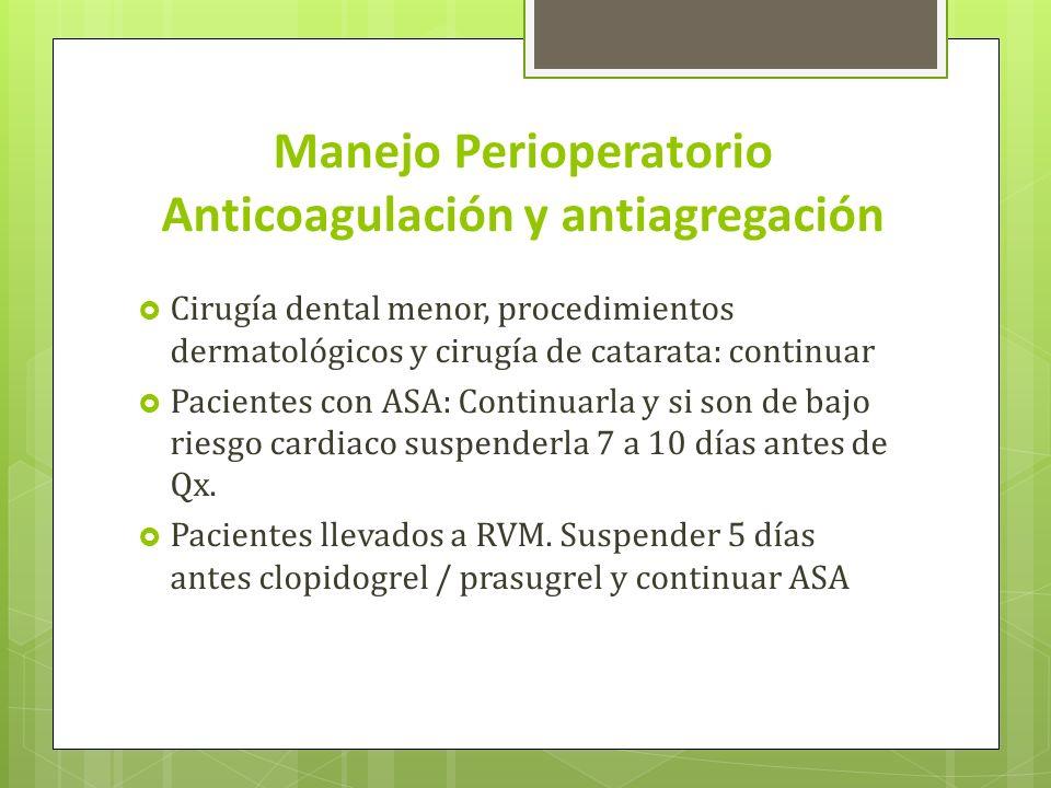Manejo Perioperatorio Anticoagulación y antiagregación Cirugía dental menor, procedimientos dermatológicos y cirugía de catarata: continuar Pacientes