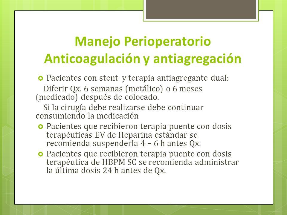 Manejo Perioperatorio Anticoagulación y antiagregación Pacientes con stent y terapia antiagregante dual: Diferir Qx. 6 semanas (metálico) o 6 meses (m