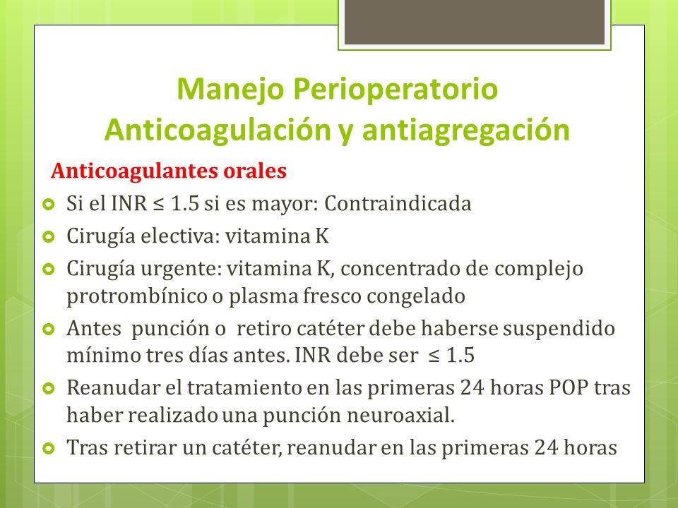 Manejo Perioperatorio Anticoagulación y antiagregación Anticoagulantes orales Si el INR 1.5 si es mayor: Contraindicada Cirugía electiva: vitamina K C