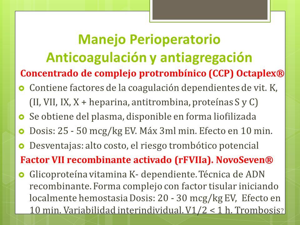 Manejo Perioperatorio Anticoagulación y antiagregación Concentrado de complejo protrombínico (CCP) Octaplex® Contiene factores de la coagulación depen