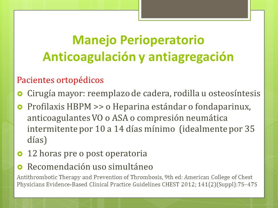 Manejo Perioperatorio Anticoagulación y antiagregación Heparina estándar Se une a antitrombina III, acelera reacciones antitrombina, trombina factor Xa Revertida con Protamina Monitorización: TTPA Complicaciones: sangrado, trombocitopenia Heparina de bajo peso molecular Acción anticoagulante por efecto inhibidor predominante sobre el factor Xa y IIa Biodisponibilidad uniforme.