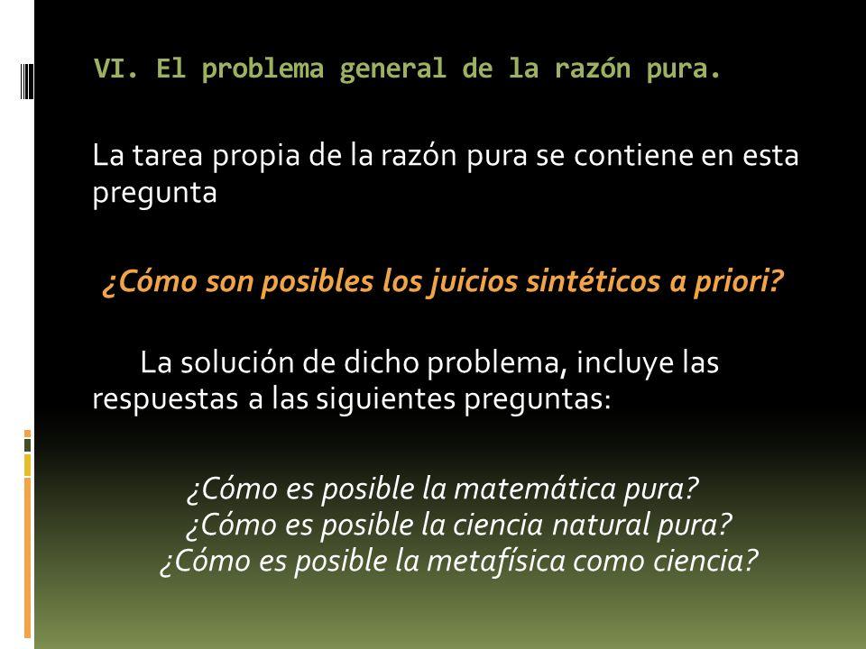 VI. El problema general de la razón pura. La tarea propia de la razón pura se contiene en esta pregunta ¿Cómo son posibles los juicios sintéticos a pr