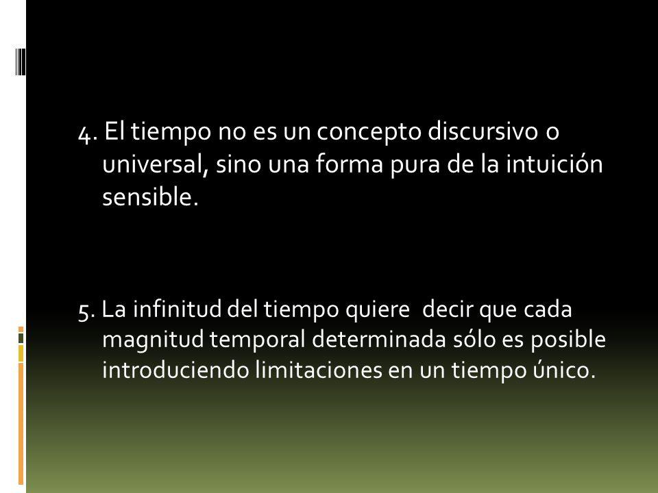 4. El tiempo no es un concepto discursivo o universal, sino una forma pura de la intuición sensible. 5. La infinitud del tiempo quiere decir que cada