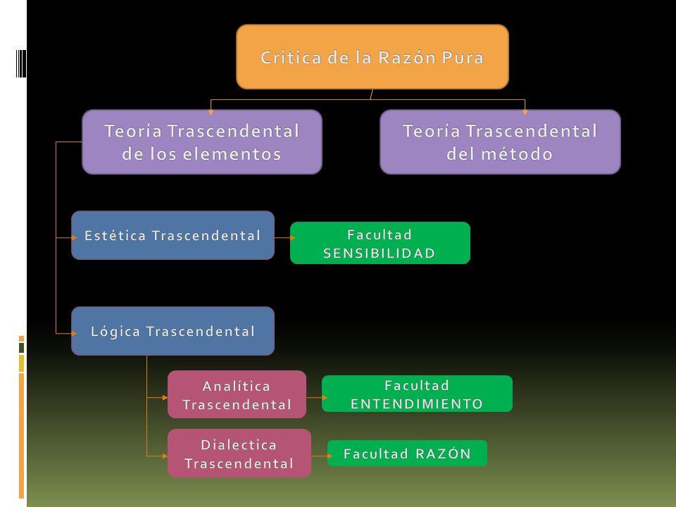 Facultades del conocimiento humano: SENSIBILIDAD: A través de ésta se nos dan los objetos.