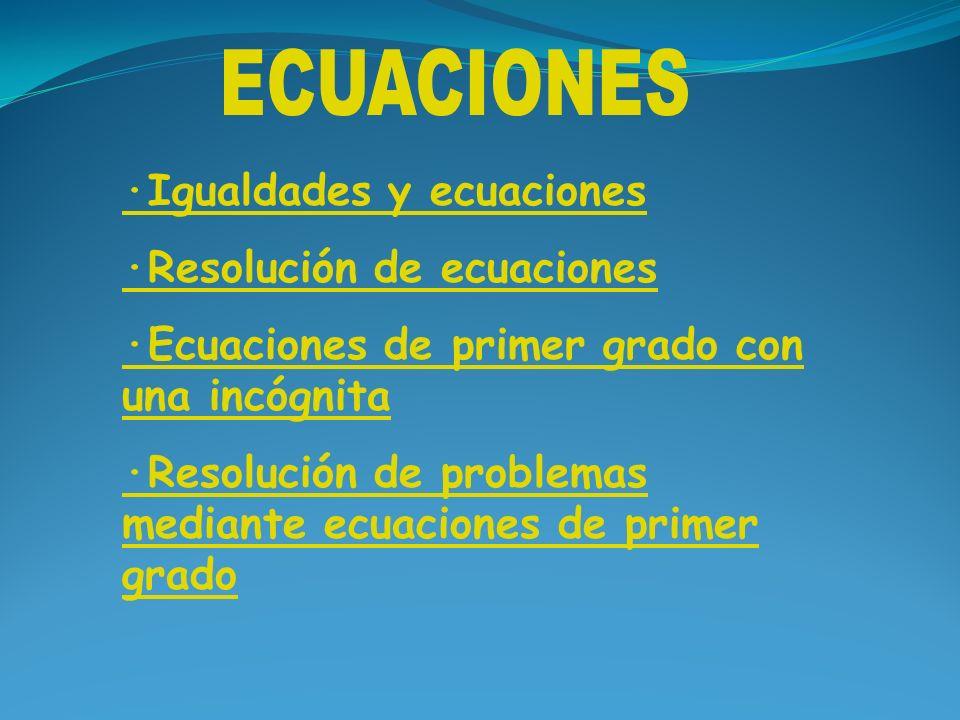 ·Igualdades y ecuaciones ·Resolución de ecuaciones ·Ecuaciones de primer grado con una incógnita ·Resolución de problemas mediante ecuaciones de prime