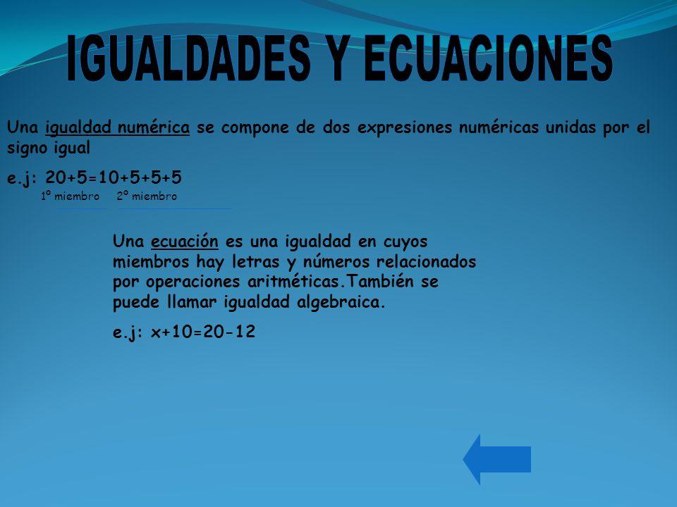 Una igualdad numérica se compone de dos expresiones numéricas unidas por el signo igual e.j: 20+5=10+5+5+5 1º miembro 2º miembro Una ecuación es una i