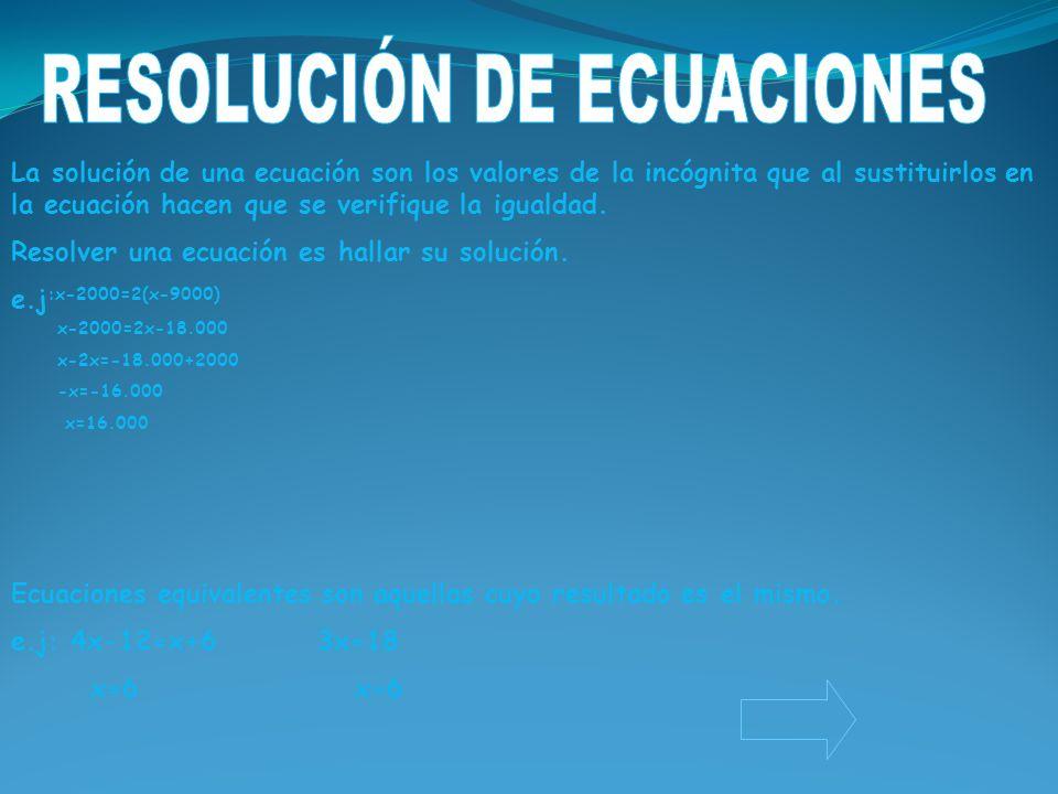 La solución de una ecuación son los valores de la incógnita que al sustituirlos en la ecuación hacen que se verifique la igualdad. Resolver una ecuaci