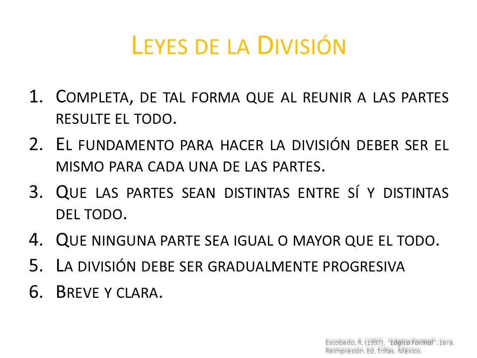 D IVISIONES Instrucciones: Algunas de las siguientes divisiones son incorrectas, señala con una X la ley o leyes que no cumpla cada una, o si está correcta.