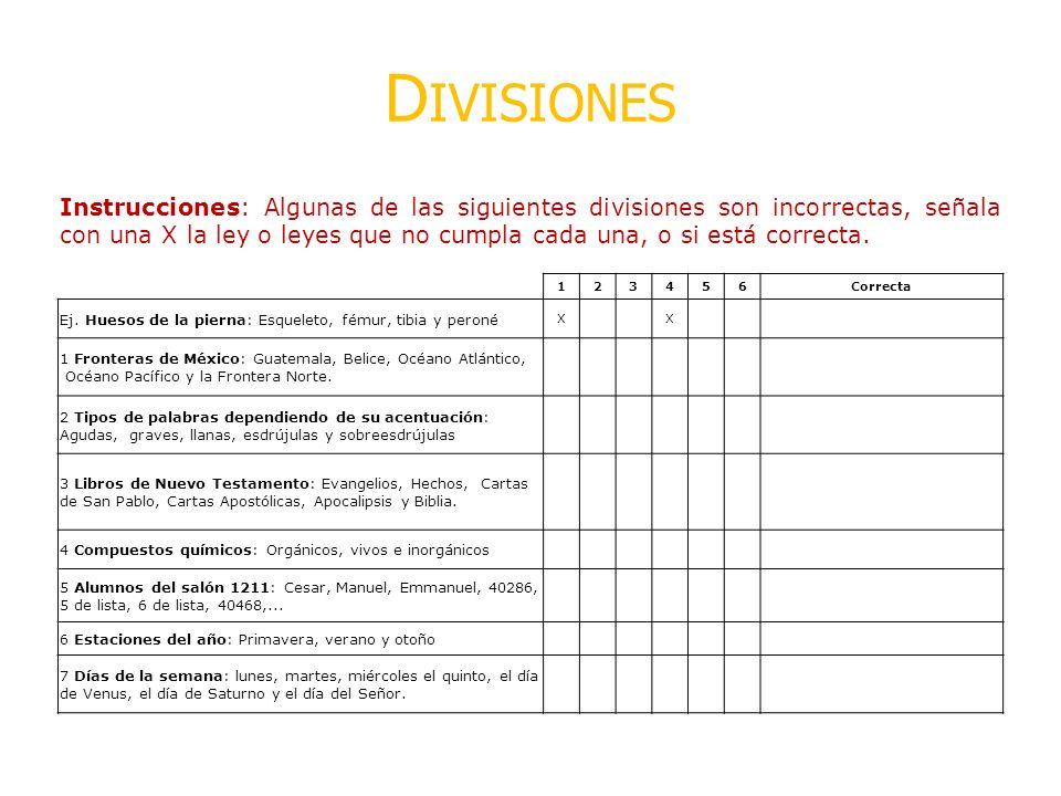 D IVISIONES Instrucciones: Algunas de las siguientes divisiones son incorrectas, señala con una X la ley o leyes que no cumpla cada una, o si está cor