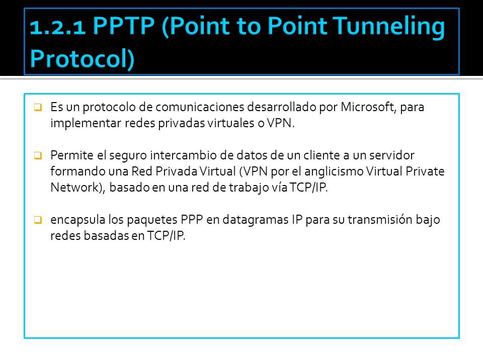 Es un protocolo de comunicaciones desarrollado por Microsoft, para implementar redes privadas virtuales o VPN. Permite el seguro intercambio de datos
