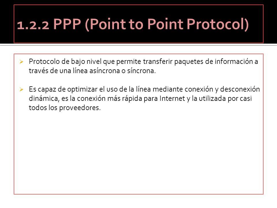 Protocolo de bajo nivel que permite transferir paquetes de información a través de una línea asíncrona o síncrona. Es capaz de optimizar el uso de la