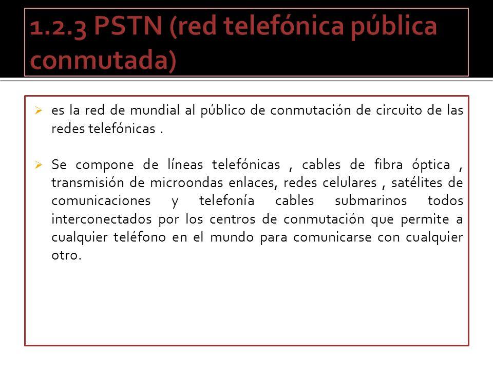 es la red de mundial al público de conmutación de circuito de las redes telefónicas. Se compone de líneas telefónicas, cables de fibra óptica, transmi