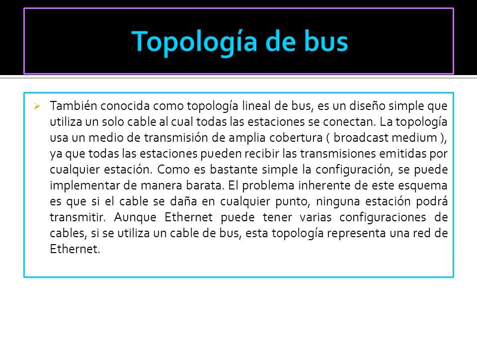 También conocida como topología lineal de bus, es un diseño simple que utiliza un solo cable al cual todas las estaciones se conectan. La topología us