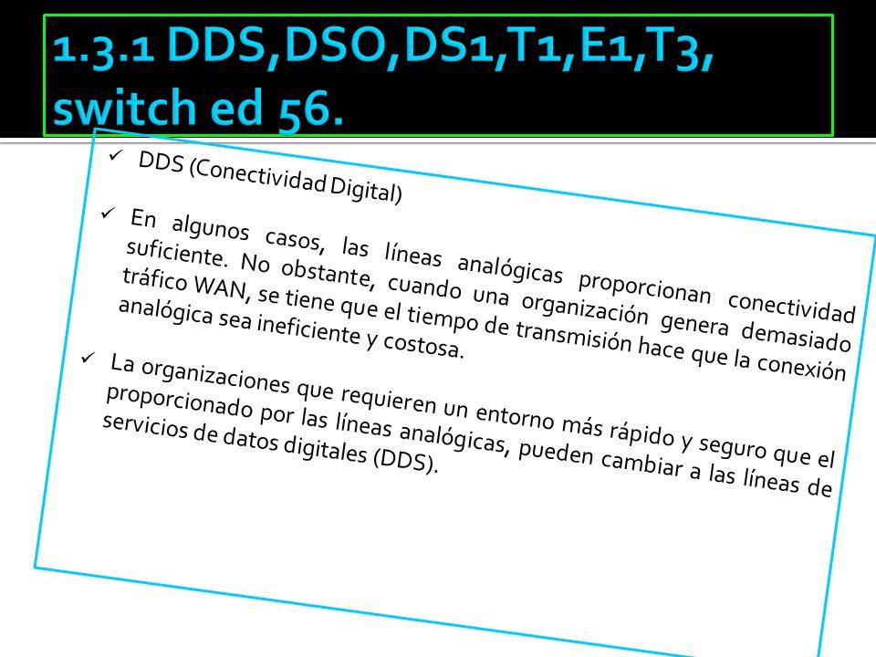 DDS (Conectividad Digital) En algunos casos, las líneas analógicas proporcionan conectividad suficiente. No obstante, cuando una organización genera d