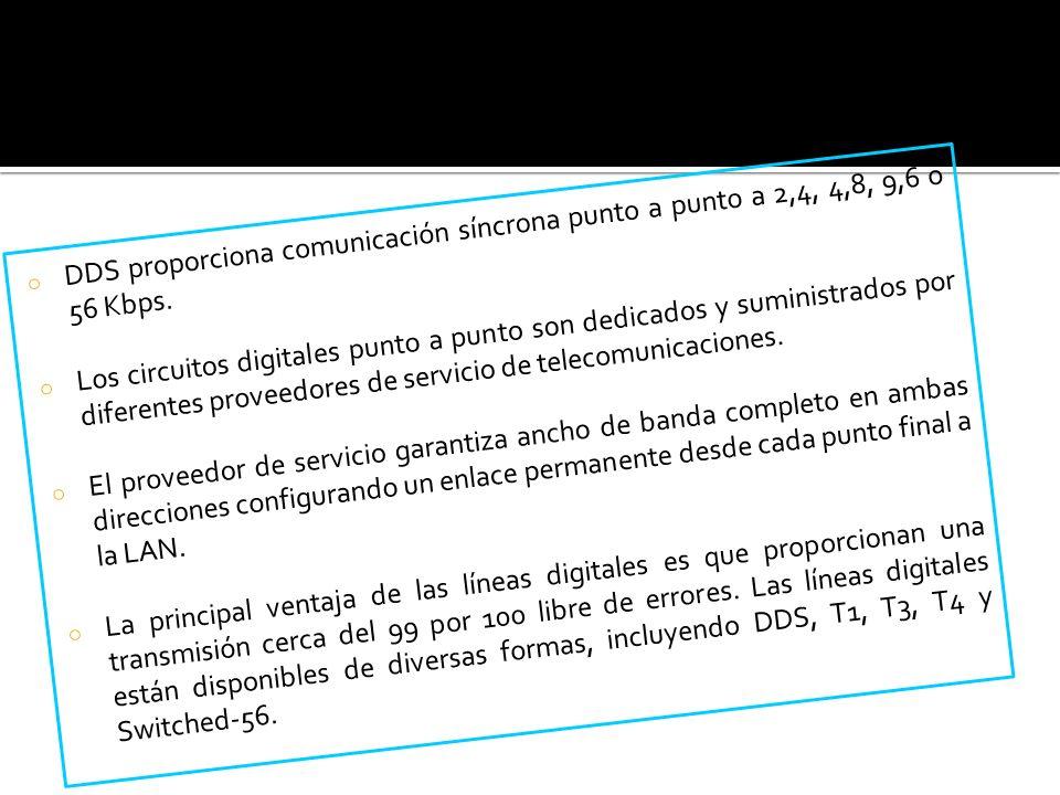 o DDS proporciona comunicación síncrona punto a punto a 2,4, 4,8, 9,6 o 56 Kbps. o Los circuitos digitales punto a punto son dedicados y suministrados